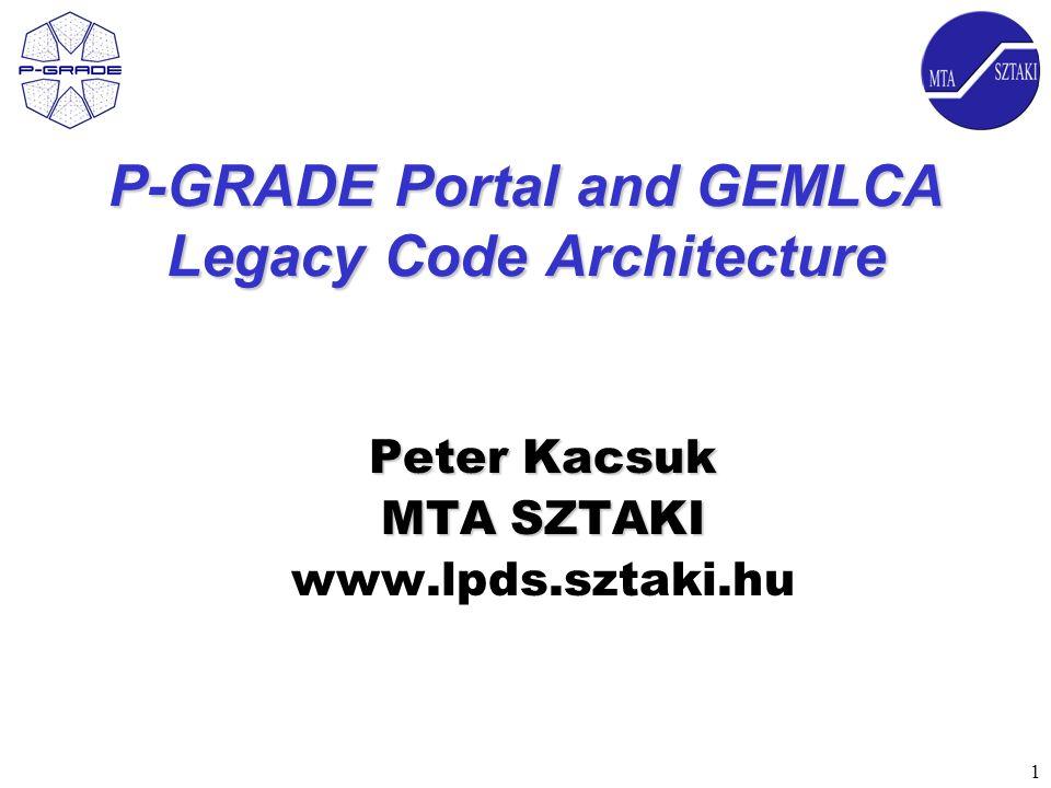 1 P-GRADE Portal and GEMLCA Legacy Code Architecture Peter Kacsuk MTA SZTAKI www.lpds.sztaki.hu