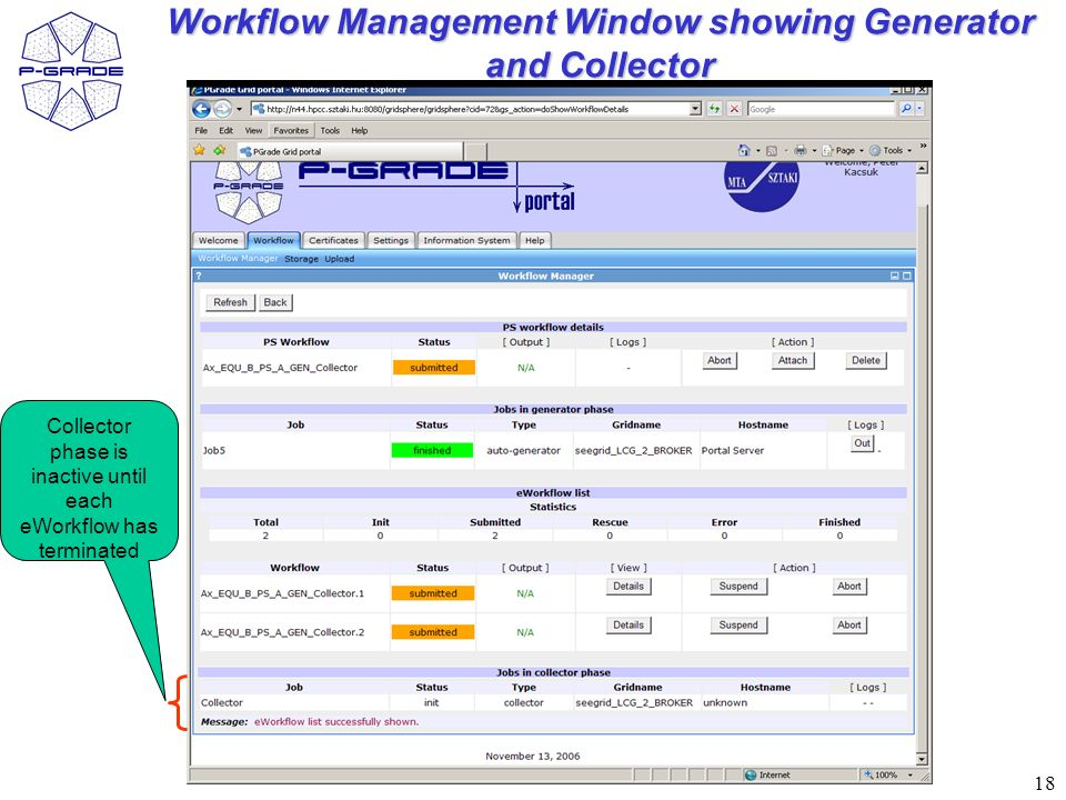 18 Workflow Management Window showing Generator and Collector Collector phase is inactive until each eWorkflow has terminated