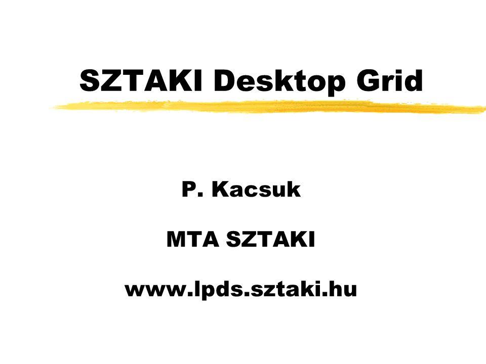 SZTAKI Desktop Grid P. Kacsuk MTA SZTAKI www.lpds.sztaki.hu