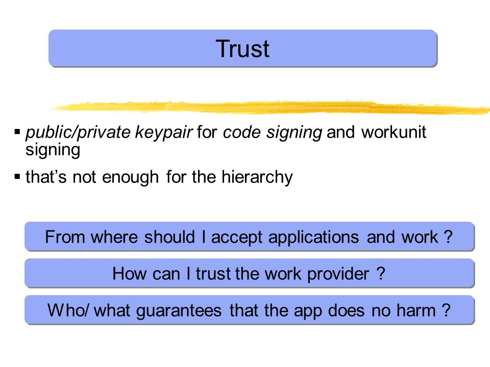 Trust public/private keypair for code signing and workunit signing thats not enough for the hierarchy From where should I accept applications and work .
