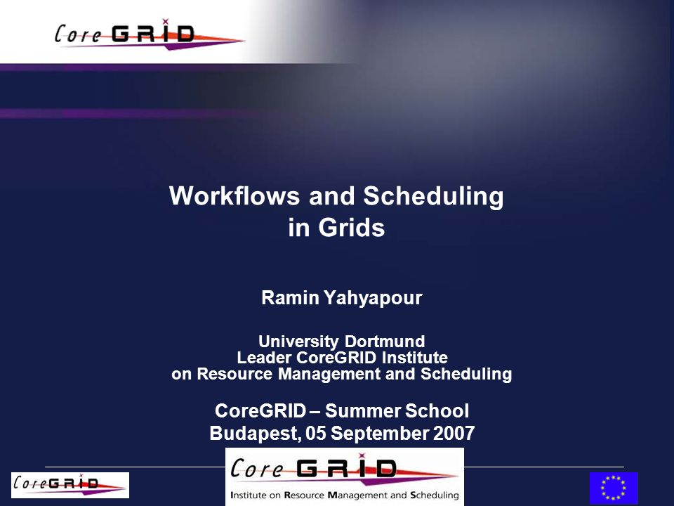 European Research Network on Foundations, Software Infrastructures and Applications for large scale distributed, GRID and Peer-to-Peer Technologies 24.07.06 22 Typical Scheduling Objectives Minimizing the Average Weighted Response Time Maximize machine utilization/minimize idle time –conflicting objective –criteria is usually static for an installation and implicit given by the scheduling algorithm r : submission time of a job t : completion time of a job w : weight/priority of a job