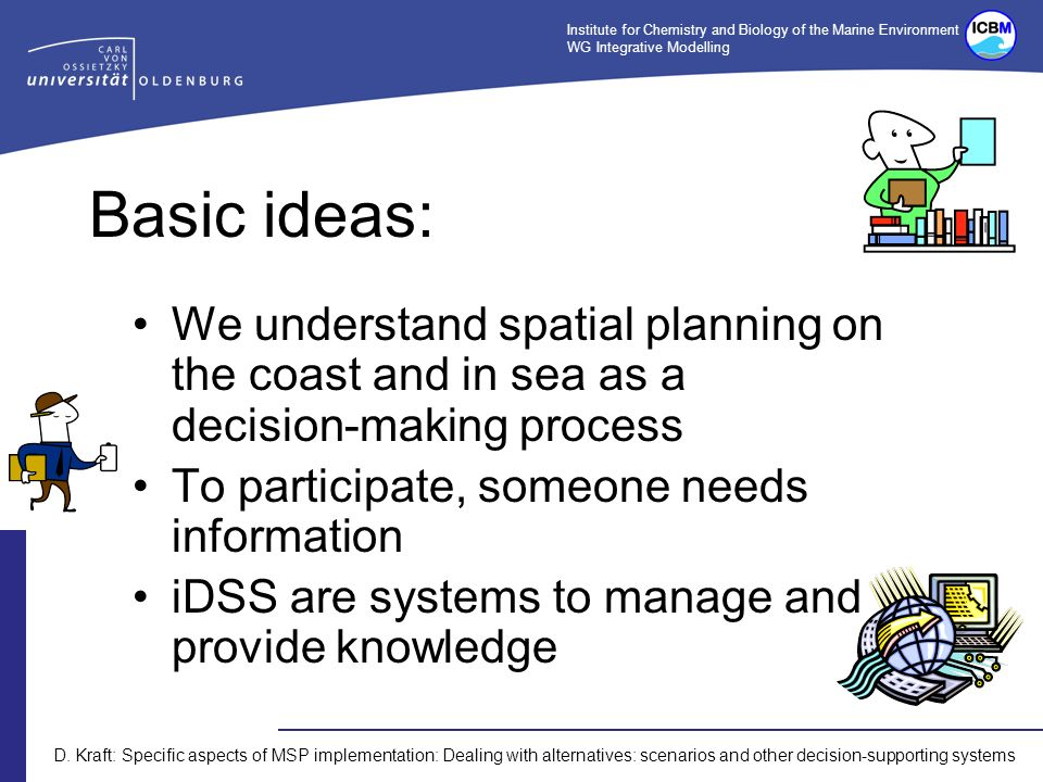 Institute for Chemistry and Biology of the Marine Environment WG Integrative Modelling D. Kraft: Specific aspects of MSP implementation: Dealing with