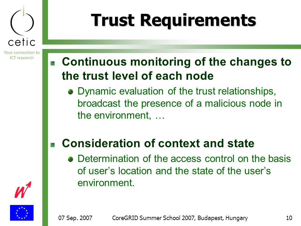 07 Sep. 2007CoreGRID Summer School 2007, Budapest, Hungary10 Continuous monitoring of the changes to the trust level of each node Dynamic evaluation o