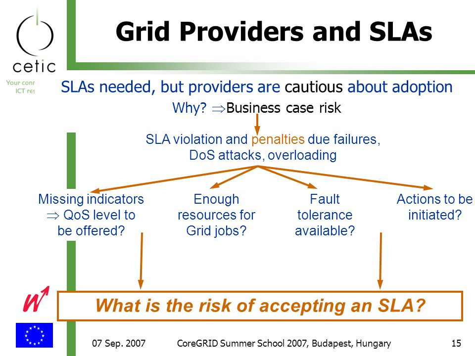 07 Sep. 2007CoreGRID Summer School 2007, Budapest, Hungary15 Grid Providers and SLAs SLAs needed, but providers are cautious about adoption Why? Busin