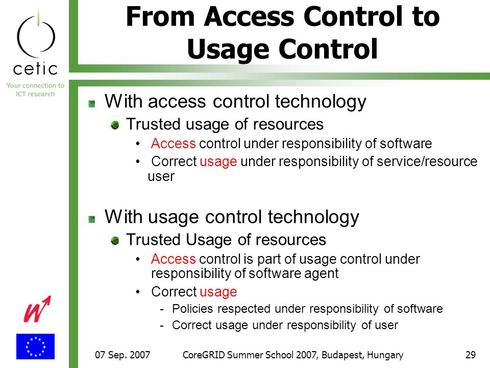 07 Sep. 2007CoreGRID Summer School 2007, Budapest, Hungary29 From Access Control to Usage Control With access control technology Trusted usage of reso