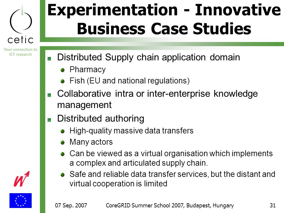 07 Sep. 2007CoreGRID Summer School 2007, Budapest, Hungary31 Experimentation - Innovative Business Case Studies Distributed Supply chain application d
