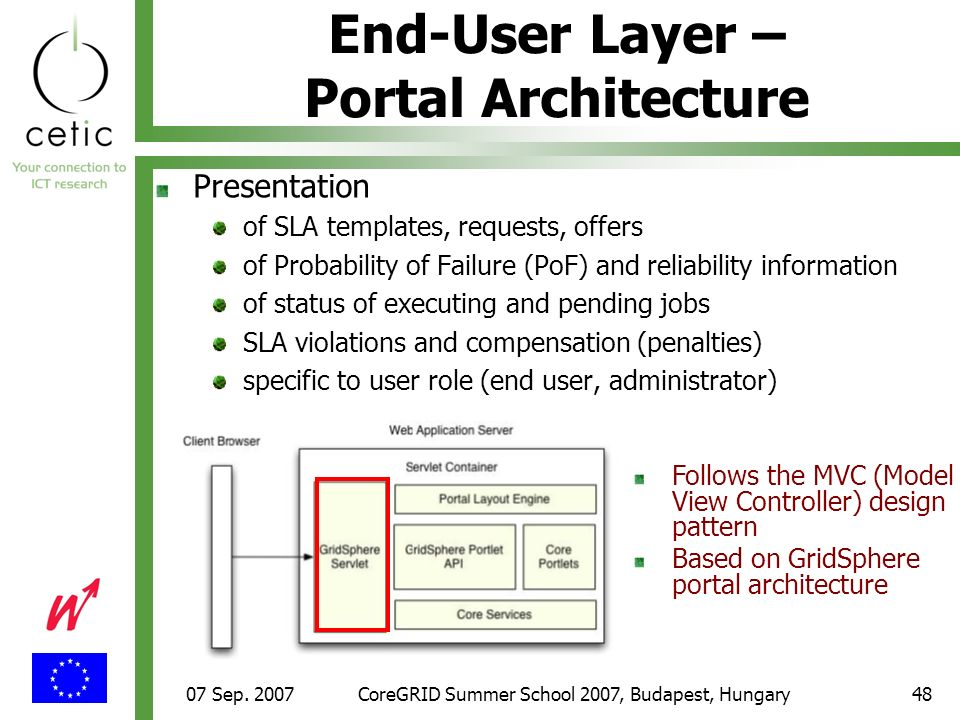 07 Sep. 2007CoreGRID Summer School 2007, Budapest, Hungary48 End-User Layer – Portal Architecture Presentation of SLA templates, requests, offers of P