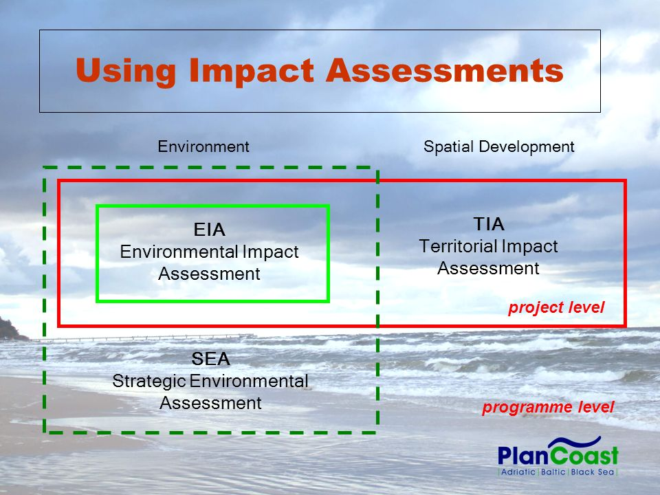 TIA Territorial Impact Assessment SEA Strategic Environmental Assessment EIA Environmental Impact Assessment EnvironmentSpatial Development project level programme level Using Impact Assessments