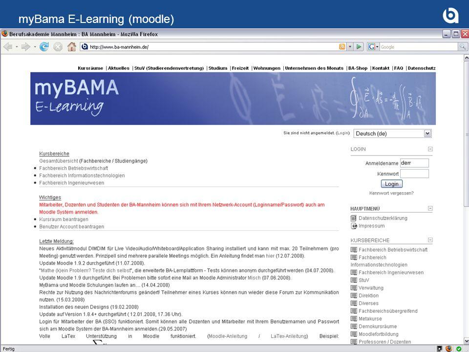 Prof. Dr. Dirk Saller - Stellv. Direktor Berufsakademie-Mannheim 13 myBama E-Learning (moodle)