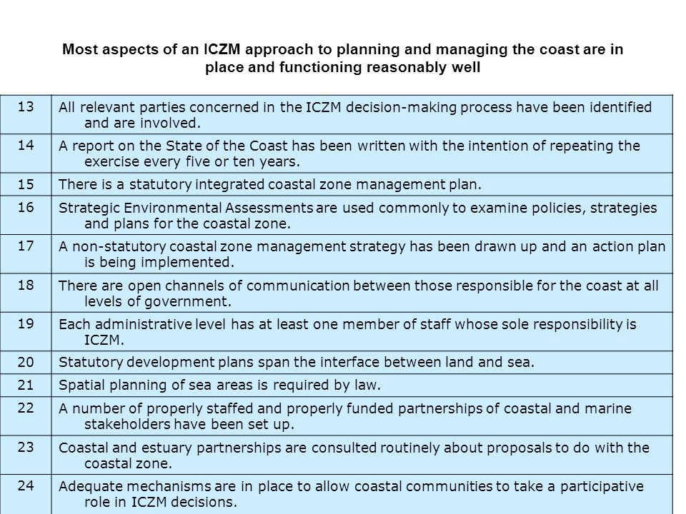 13All relevant parties concerned in the ICZM decision-making process have been identified and are involved.