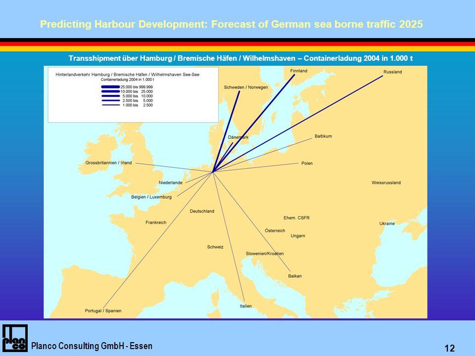 Predicting Harbour Development: Forecast of German sea borne traffic 2025 Planco Consulting GmbH - Essen 12 Transshipment über Hamburg / Bremische Häfen / Wilhelmshaven – Containerladung 2004 in 1.000 t