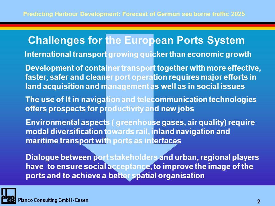 Predicting Harbour Development: Forecast of German sea borne traffic 2025 Planco Consulting GmbH - Essen 13 TTransshipment über Hamburg / Bremische Häfen / Wilhelmshaven – Containerladung 2025 in 1.000 t