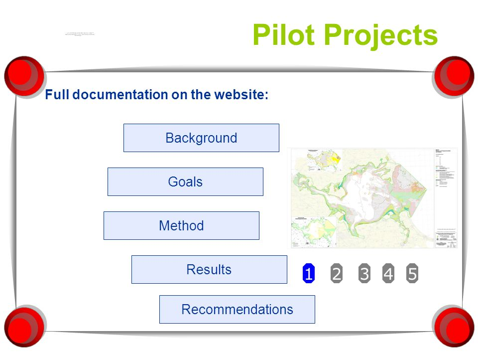 Pilot Projects Full documentation on the website: Background Method Results Recommendations Goals 12345