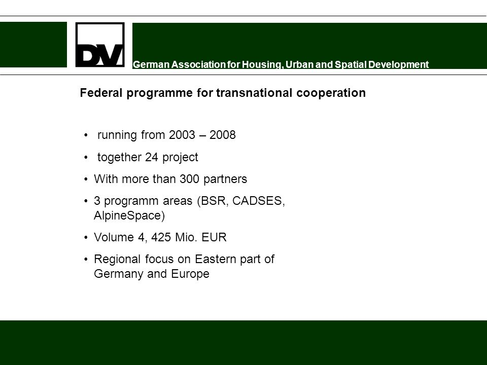 German Association for Housing, Urban and Spatial Development Federal programme for transnational cooperation running from 2003 – 2008 together 24 pro