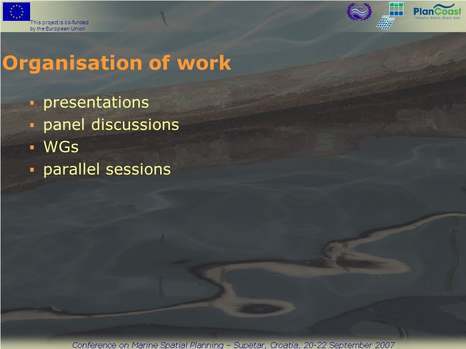 This project is co-funded by the European Union Organisation of work presentations panel discussions WGs parallel sessions