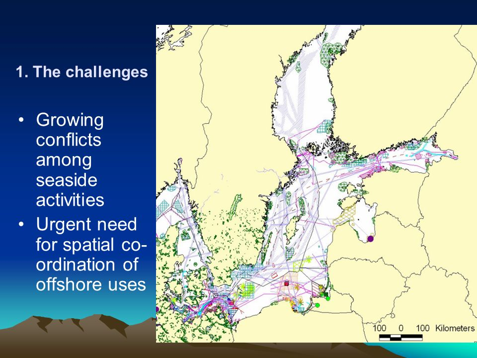 1. The challenges Growing conflicts among seaside activities Urgent need for spatial co- ordination of offshore uses