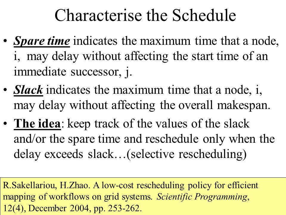 Characterise the Schedule Spare time indicates the maximum time that a node, i, may delay without affecting the start time of an immediate successor, j.