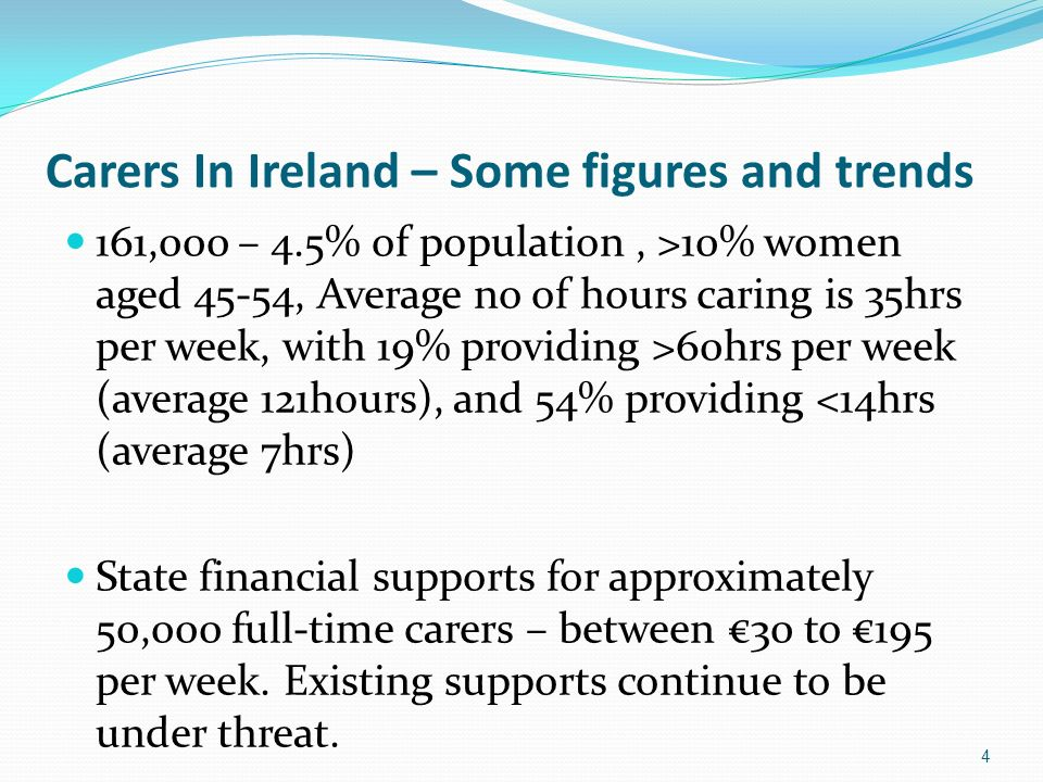 4 Carers In Ireland – Some figures and trends 161,000 – 4.5% of population, >10% women aged 45-54, Average no of hours caring is 35hrs per week, with 19% providing >60hrs per week (average 121hours), and 54% providing <14hrs (average 7hrs) State financial supports for approximately 50,000 full-time carers – between 30 to 195 per week.