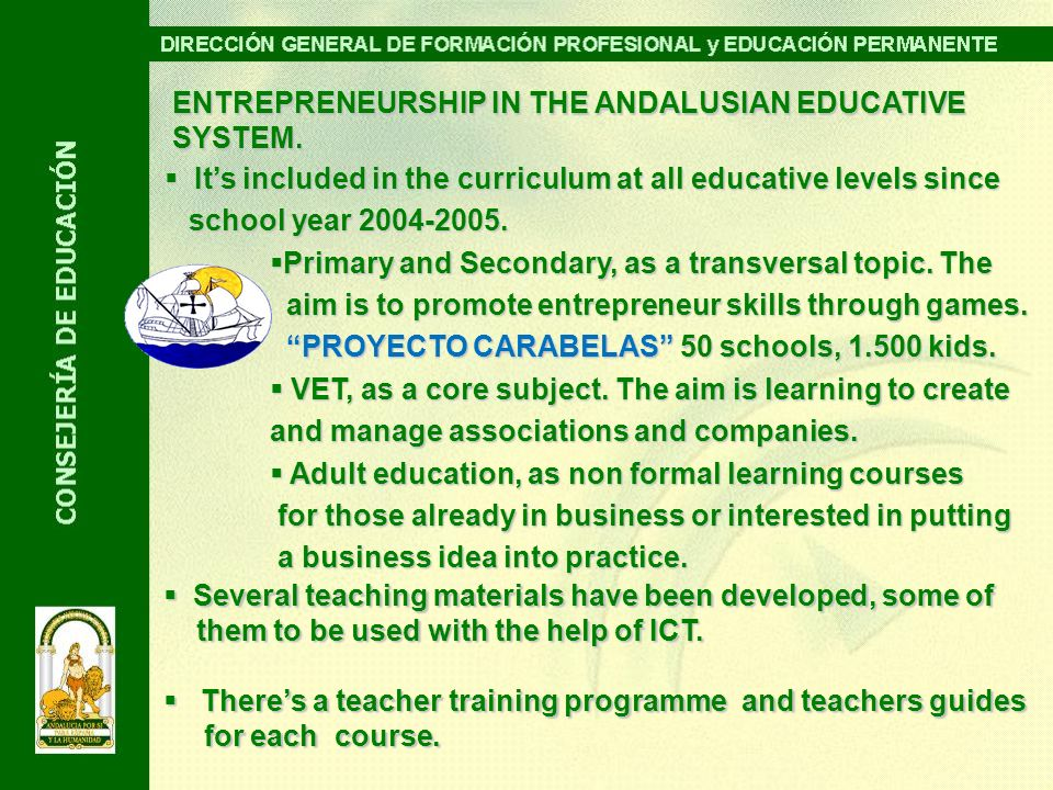 ENTREPRENEURSHIP IN THE ANDALUSIAN EDUCATIVE SYSTEM. Its included in the curriculum at all educative levels since Its included in the curriculum at al