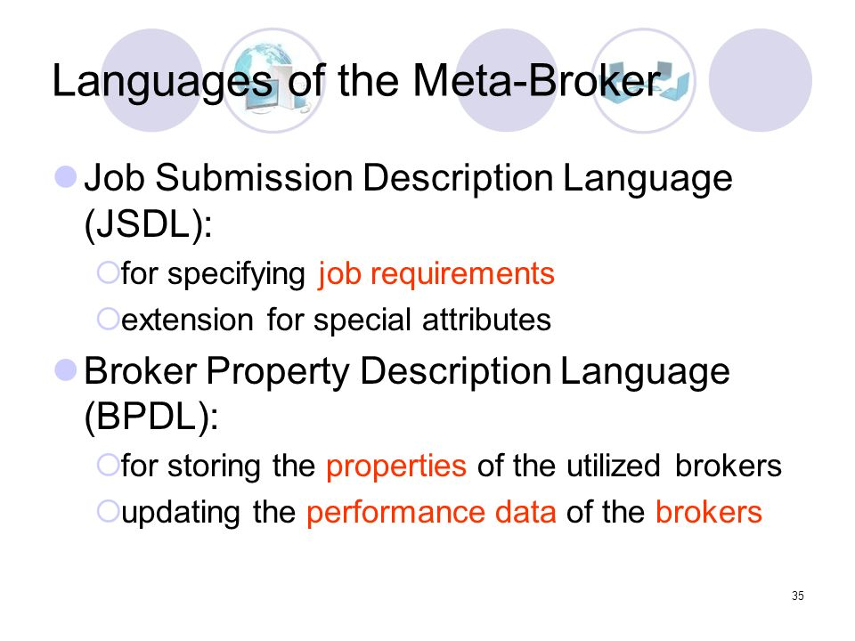 35 Languages of the Meta-Broker Job Submission Description Language (JSDL): for specifying job requirements extension for special attributes Broker Property Description Language (BPDL): for storing the properties of the utilized brokers updating the performance data of the brokers