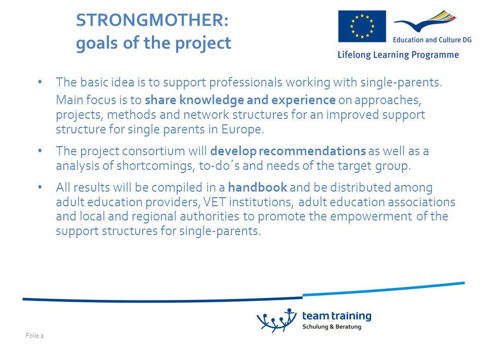 Folie 2 STRONGMOTHER: goals of the project The basic idea is to support professionals working with single-parents.