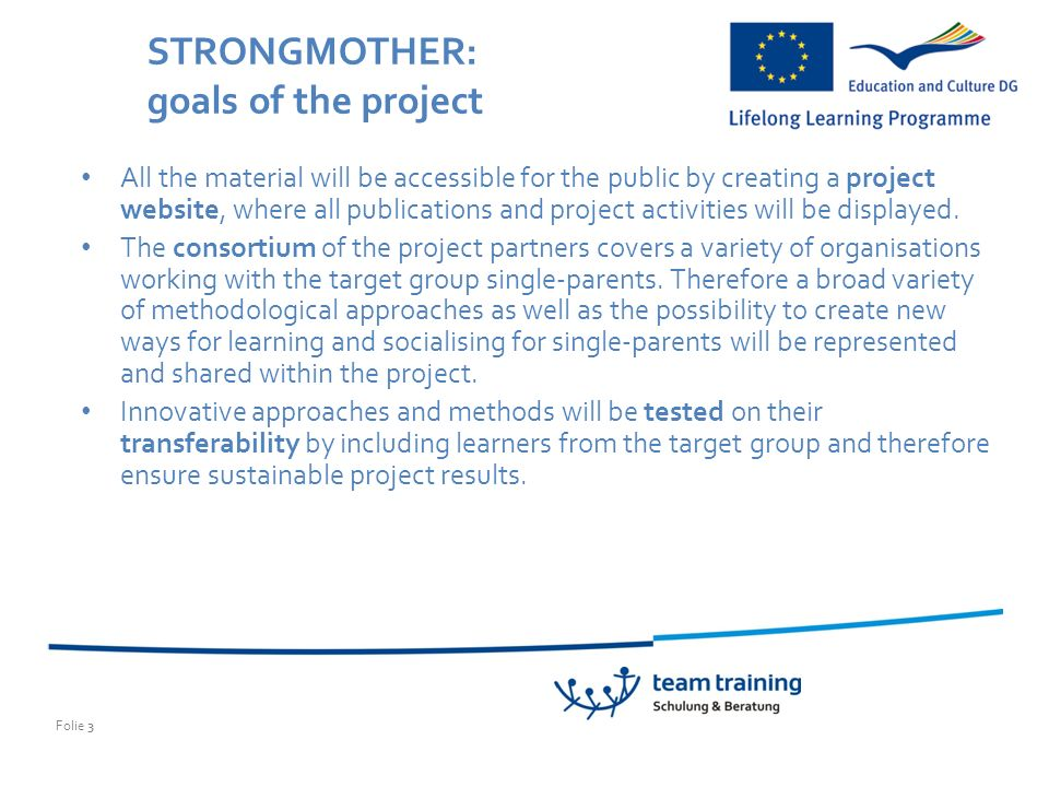 Folie 3 STRONGMOTHER: goals of the project All the material will be accessible for the public by creating a project website, where all publications and project activities will be displayed.