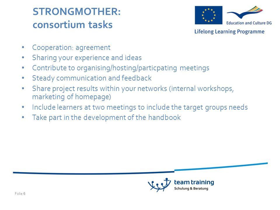 Folie 6 STRONGMOTHER: consortium tasks Cooperation: agreement Sharing your experience and ideas Contribute to organising/hosting/particpating meetings Steady communication and feedback Share project results within your networks (internal workshops, marketing of homepage) Include learners at two meetings to include the target groups needs Take part in the development of the handbook