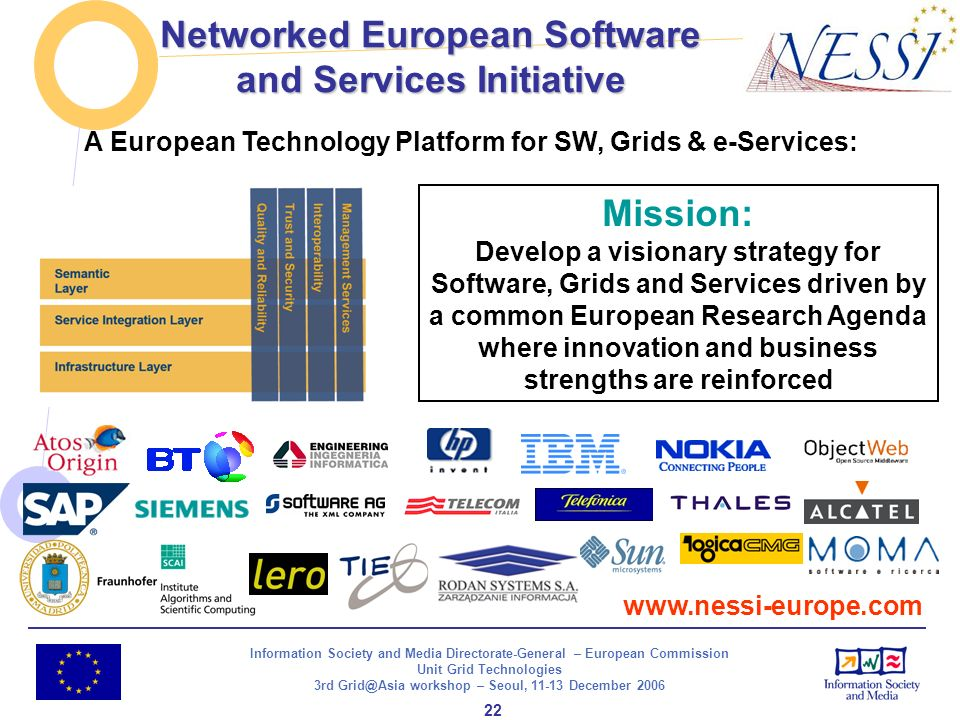 Information Society and Media Directorate-General – European Commission Unit Grid Technologies 3rd Grid@Asia workshop – Seoul, 11-13 December 2006 22 Networked European Software and Services Initiative www.nessi-europe.com Mission: Develop a visionary strategy for Software, Grids and Services driven by a common European Research Agenda where innovation and business strengths are reinforced A European Technology Platform for SW, Grids & e-Services: