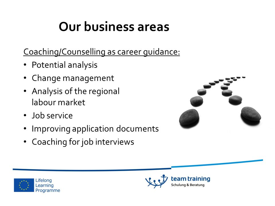 Our business areas Coaching/Counselling as career guidance: Potential analysis Change management Analysis of the regional labour market Job service Improving application documents Coaching for job interviews