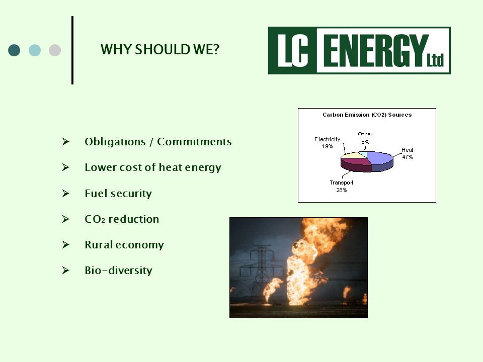 Obligations / Commitments Lower cost of heat energy Fuel security CO 2 reduction Rural economy Bio-diversity WHY SHOULD WE