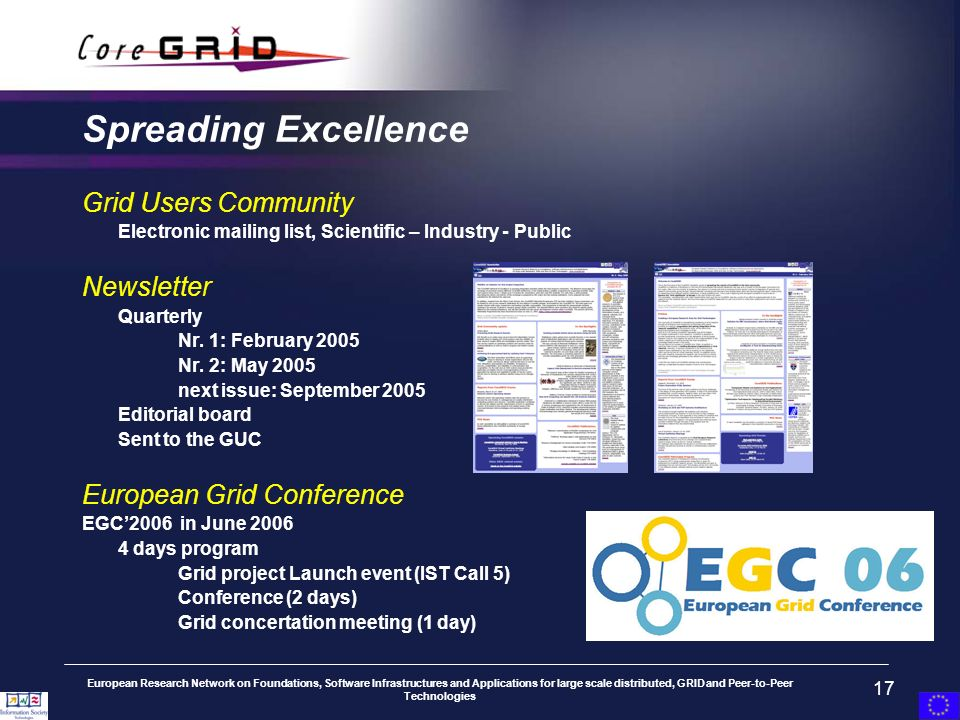 European Research Network on Foundations, Software Infrastructures and Applications for large scale distributed, GRID and Peer-to-Peer Technologies 17 Spreading Excellence Grid Users Community Electronic mailing list, Scientific – Industry - Public Newsletter Quarterly Nr.