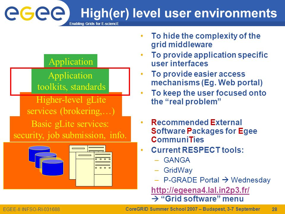 Enabling Grids for E-sciencE EGEE-II INFSO-RI-031688 CoreGRID Summer School 2007 – Budapest, 3-7 September 28 High(er) level user environments To hide the complexity of the grid middleware To provide application specific user interfaces To provide easier access mechanisms (Eg.