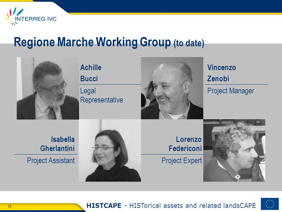 10 HISTCAPE - HISTorical assets and related landsCAPE Regione Marche Working Group (to date) Achille Bucci Vincenzo Zenobi Legal Representative Project Manager Isabella Gherlantini Lorenzo Federiconi Project AssistantProject Expert