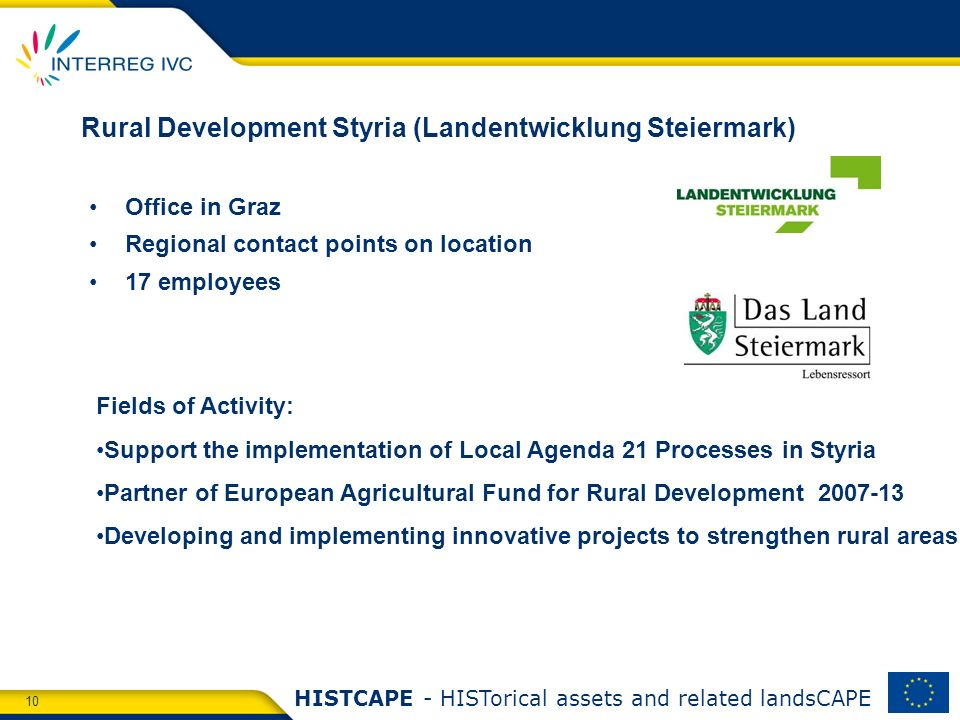 10 HISTCAPE - HISTorical assets and related landsCAPE Rural Development Styria (Landentwicklung Steiermark) Office in Graz Regional contact points on location 17 employees Fields of Activity: Support the implementation of Local Agenda 21 Processes in Styria Partner of European Agricultural Fund for Rural Development 2007-13 Developing and implementing innovative projects to strengthen rural areas