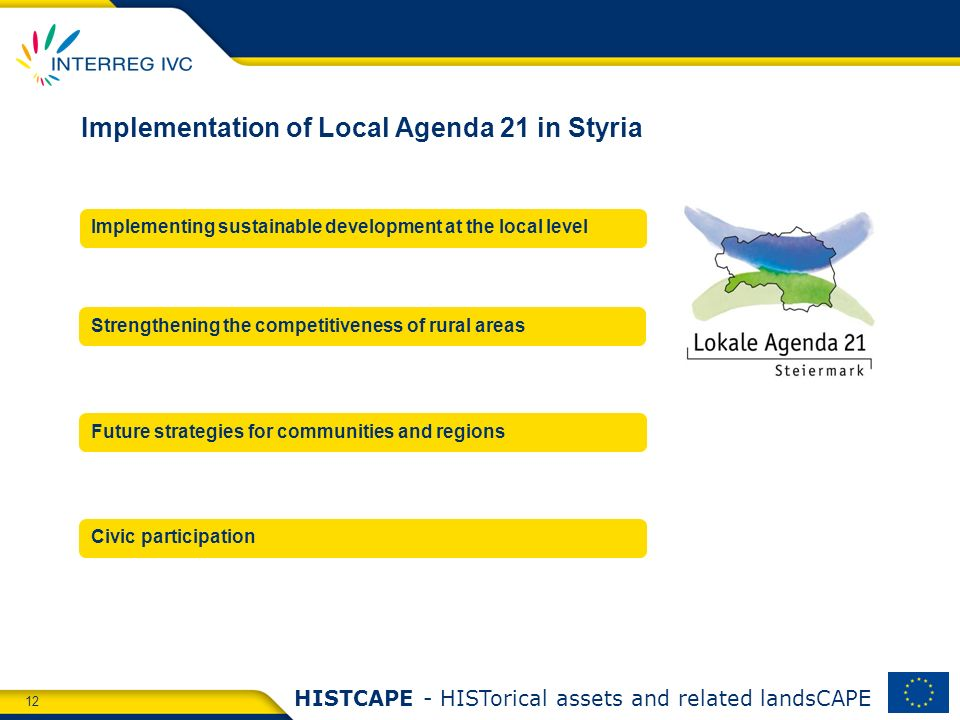 12 HISTCAPE - HISTorical assets and related landsCAPE Implementation of Local Agenda 21 in Styria Implementing sustainable development at the local le