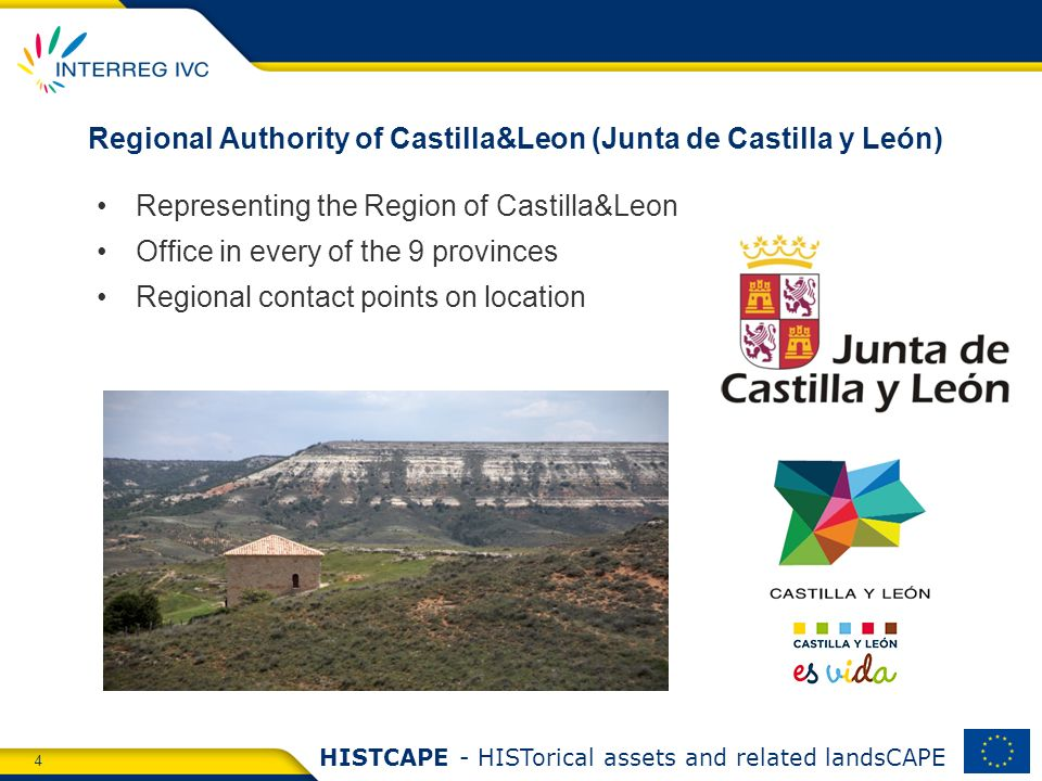 4 HISTCAPE - HISTorical assets and related landsCAPE Regional Authority of Castilla&Leon (Junta de Castilla y León) Representing the Region of Castilla&Leon Office in every of the 9 provinces Regional contact points on location