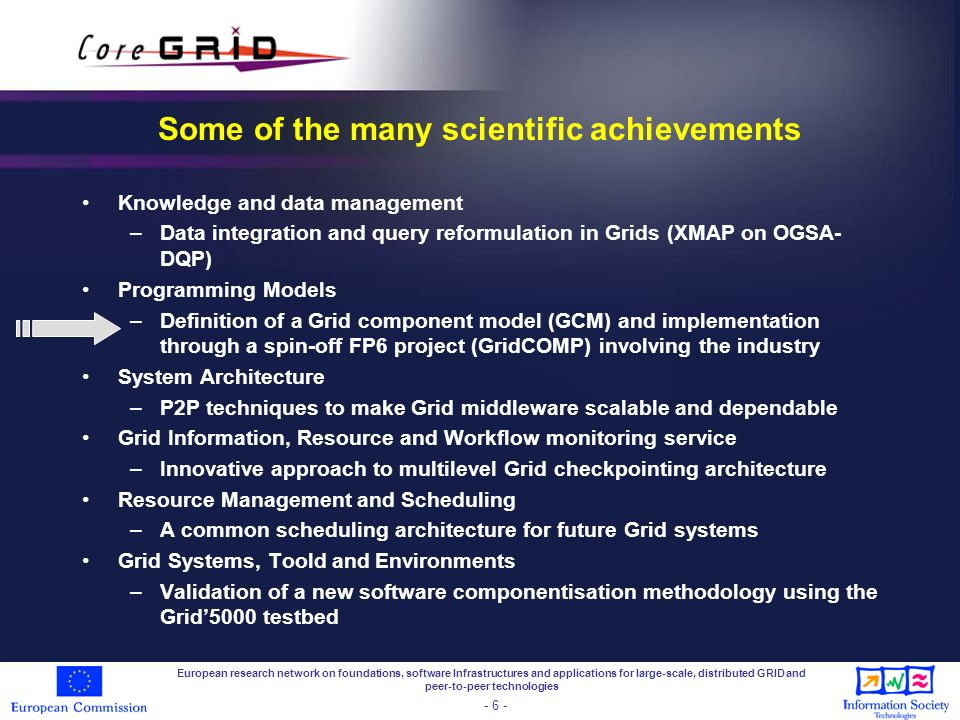 Final word CoreGRID is involved in Service Wave 2008 European research network on foundations, software Infrastructures and applications for large-scale, distributed GRID and peer-to-peer technologies - 17 -