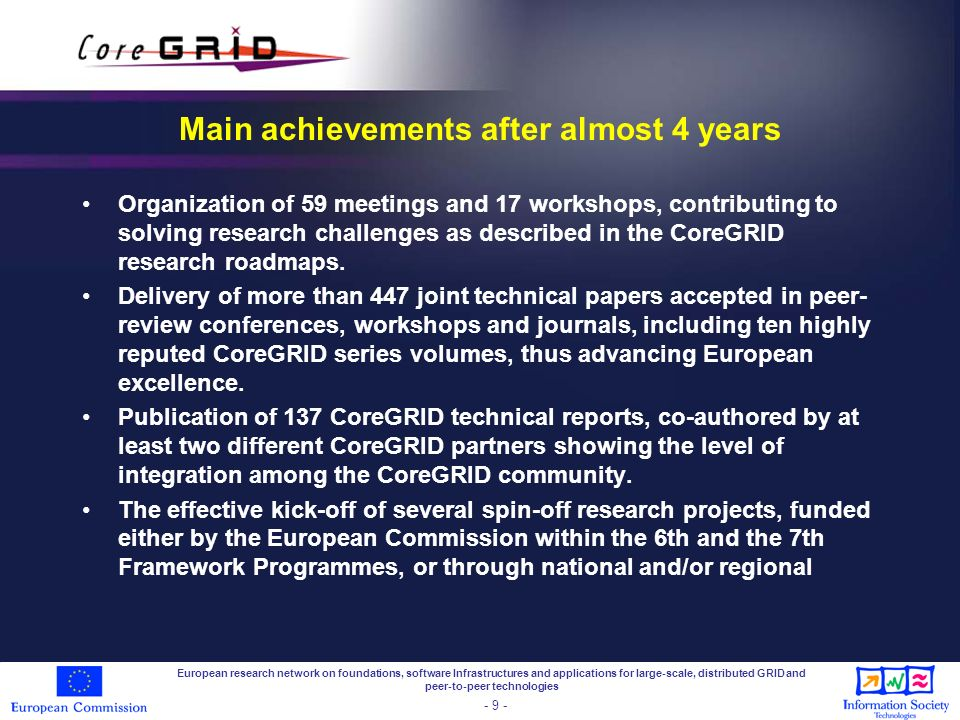 Main achievements after almost 4 years Expanding further the database of publications by CoreGRID researchers in the area of Grid and peer-to-peer computing with around 1050 references available today.
