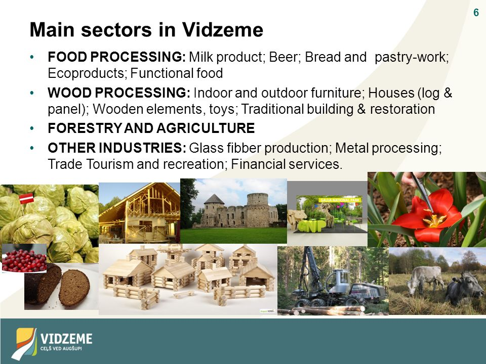 6 Main sectors in Vidzeme FOOD PROCESSING: Milk product; Beer; Bread and pastry-work; Ecoproducts; Functional food WOOD PROCESSING: Indoor and outdoor