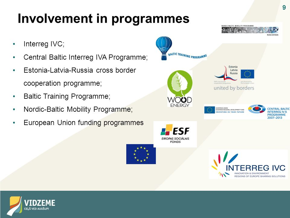 9 Involvement in programmes Interreg IVC; Central Baltic Interreg IVA Programme; Estonia-Latvia-Russia cross border cooperation programme; Baltic Training Programme; Nordic-Baltic Mobility Programme; European Union funding programmes