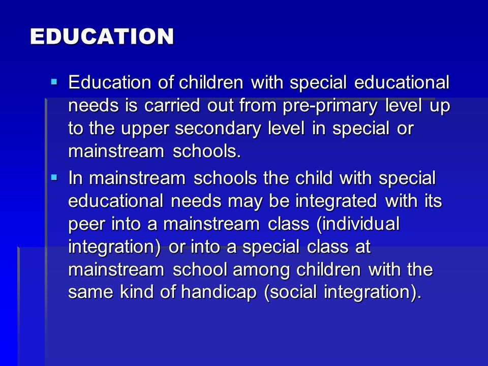The school establishments for educational counseling and prevention carry out especially psychological, pedagogical, special- pedagogical, including logopaedic and therapeutic pedagogical activities and social activity aimed at optimising the educational, psychic, social and career development of children since their birth up to completing their career development.