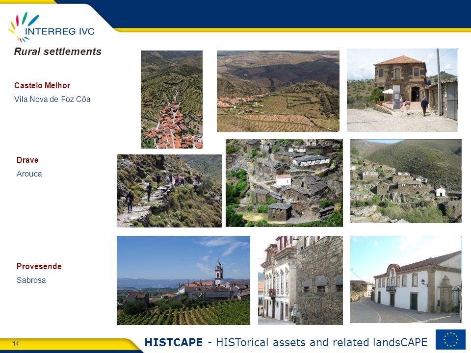 14 HISTCAPE - HISTorical assets and related landsCAPE Castelo Melhor Vila Nova de Foz Côa Drave Arouca Provesende Sabrosa Rural settlements