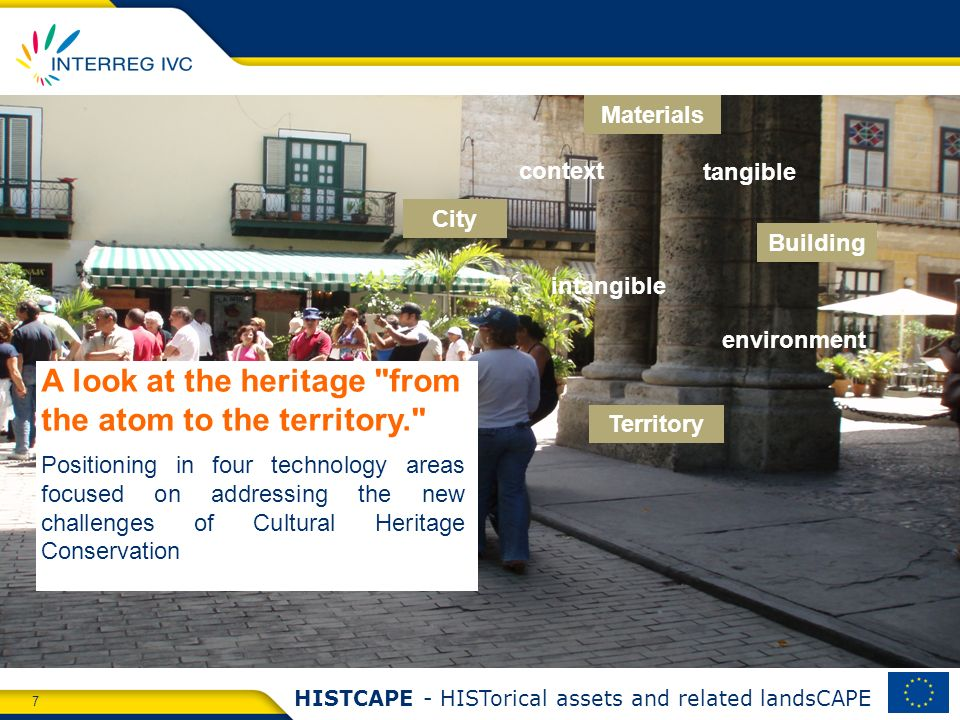 7 HISTCAPE - HISTorical assets and related landsCAPE A look at the heritage from the atom to the territory. Positioning in four technology areas focused on addressing the new challenges of Cultural Heritage Conservation Building Territory Materials context City intangible tangible environment
