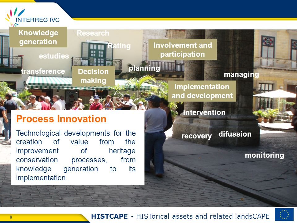 8 HISTCAPE - HISTorical assets and related landsCAPE Process Innovation Technological developments for the creation of value from the improvement of heritage conservation processes, from knowledge generation to its implementation.