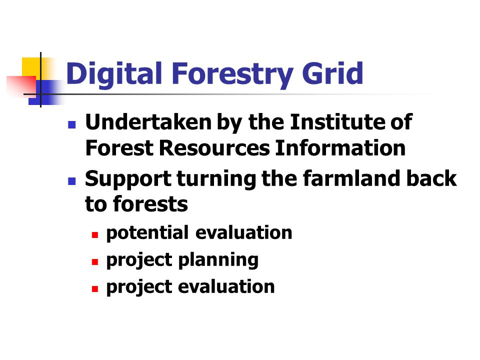 Digital Forestry Grid Undertaken by the Institute of Forest Resources Information Support turning the farmland back to forests potential evaluation project planning project evaluation
