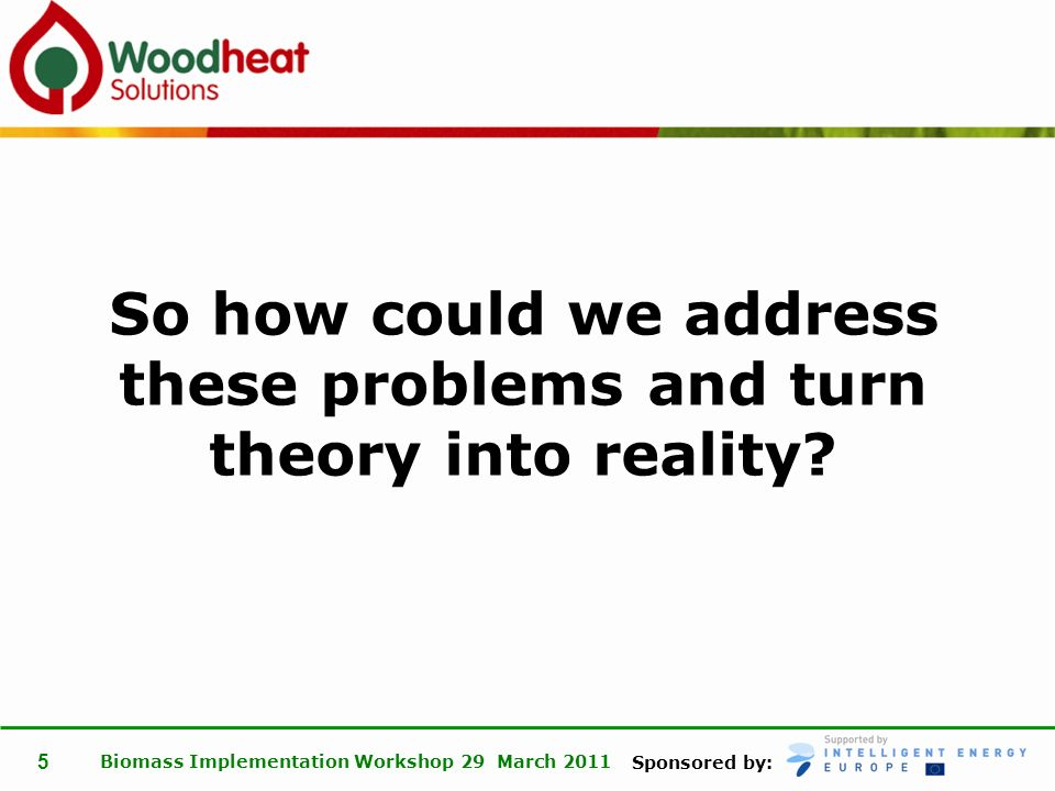 Sponsored by: Biomass Implementation Workshop 29 March 2011 5 So how could we address these problems and turn theory into reality