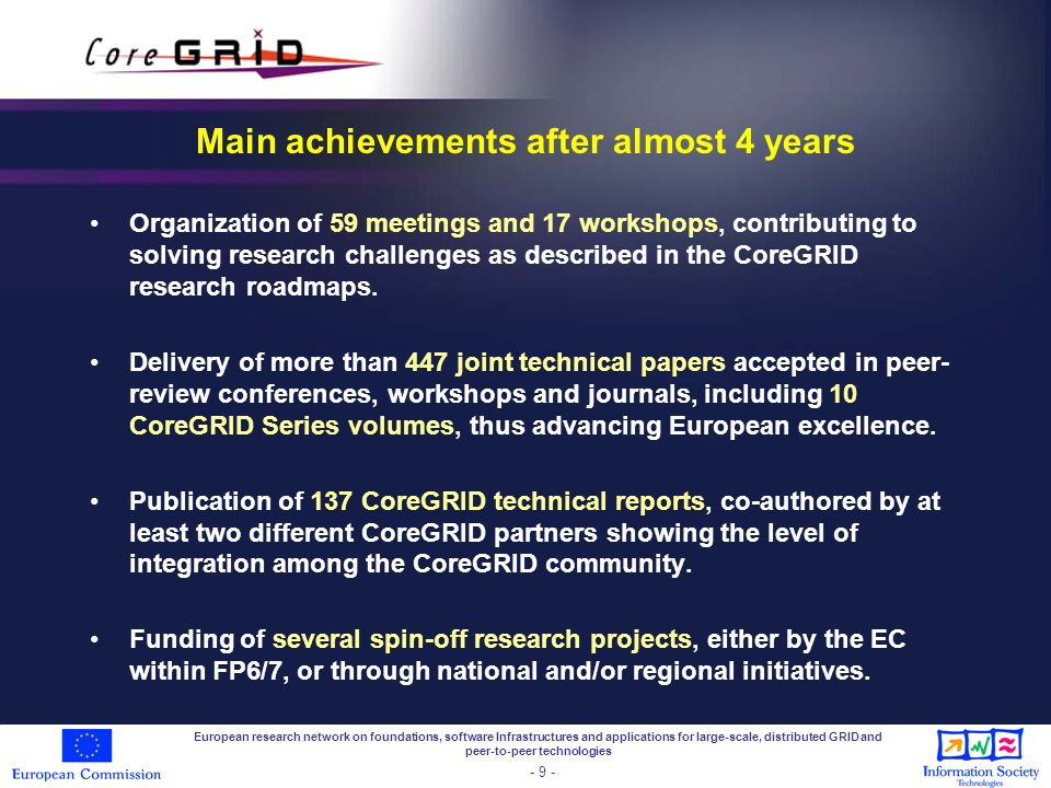 Main achievements after almost 4 years Organization of 59 meetings and 17 workshops, contributing to solving research challenges as described in the CoreGRID research roadmaps.