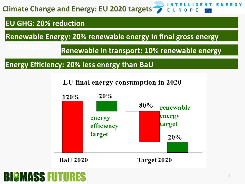 Climate Change and Energy: EU 2020 targets 2 EU GHG: 20% reduction Renewable Energy: 20% renewable energy in final gross energy consumption Renewable