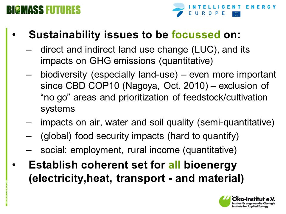 o.de Sustainability issues to be focussed on: –direct and indirect land use change (LUC), and its impacts on GHG emissions (quantitative) –biodiversity (especially land-use) – even more important since CBD COP10 (Nagoya, Oct.