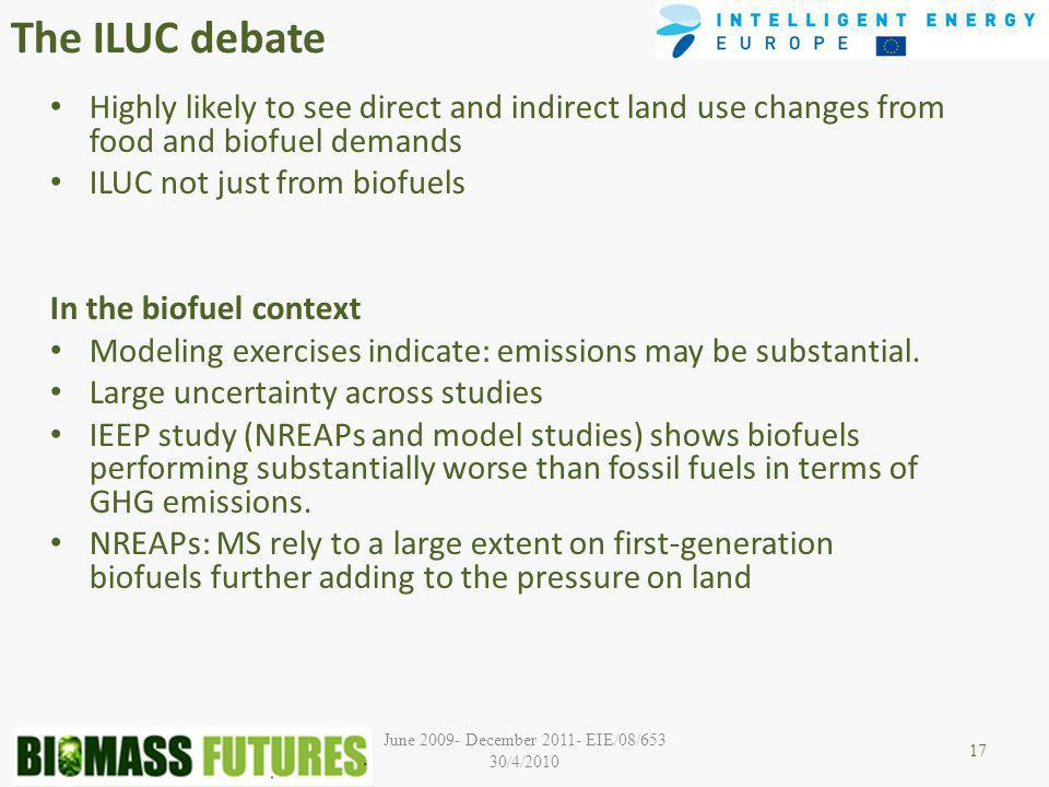 June December EIE/08/653 30/4/2010 The ILUC debate Highly likely to see direct and indirect land use changes from food and biofuel demands ILUC not just from biofuels In the biofuel context Modeling exercises indicate: emissions may be substantial.